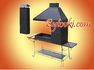 Мангал стационарный многофункциональный с отдельной печкой для приготовления ухи и жаровней для шашлыка